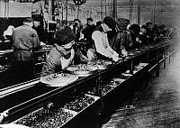 0073411 © Granger - Historical Picture ArchiveFORD ASSEMBLY LINE, 1913.   The world's first assembly line at the Ford plant in Highland Park, Michigan, 1913. Trained workers put together the flywheel magneto ignition system for the Model T.