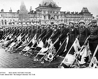 0073441 © Granger - Historical Picture ArchiveRED ARMY VICTORY PARADE.   Victory parade of the Red Army on Red Square in Mosocw: Soviet soldiers are symbolically throwing the captured standards and flags of the beaten German