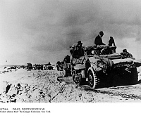 0073466 © Granger - Historical Picture ArchiveISRAEL: INDEPENDENCE WAR.   Israeli War of Independence, 1948-49: Israeli armored personnel carriers on the advance to El Auja in the Negev. Photographed, December 1948.