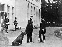0073475 © Granger - Historical Picture ArchiveWILHELM II (1859-1941).  Wilhelm II (right), German Emperor and king of Prussia, with Otto von Bismarck (left) at Bismarck's manor house in Friedrichsruh, Germany. Photograph, 30th October 1888.
