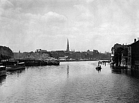 0074380 © Granger - Historical Picture ArchiveBERLIN: FISCHERINSEL c1900.   View of Fischerinsel from the Waisenbrücke at Berlin, Germany, c1900.