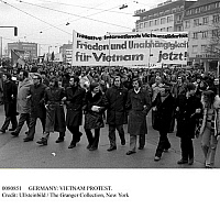 0080851 © Granger - Historical Picture ArchiveGERMANY: VIETNAM PROTEST.   Anti-Vietnam protest in Dortmund, Germany, led by FDP (Free Democratic Party) politician Jurgen Mollemann (front row, fourth from right), members of the DKP (German Communist Party), and from the student organization MSB Spartakus. 20 January 1973.