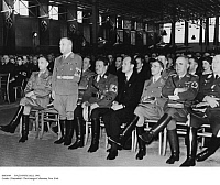 0083649 © Granger - Historical Picture ArchiveNAZI OFFICIALS, 1941.   Meeting in Augsburg, Germany, including Wilhelm Ohnesorge, Max Amann (standing), Willy Messerschmitt, Karl Fiehler and Ludwig Siebert. Photograph, 1941.
