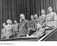 0083653 © Granger - Historical Picture ArchiveADOLF HITLER (1889-1945).   Chancellor of Germany, 1933-45. Hitler in a box at the Berlin Opera House with Nazi officials, 1942. Front row, from right: Hitler, Joachim von Ribbentrop, Wilhelm Frick, and Joseph Goebbels. Back row, from right: Richard Walter Darre, Bernhard Rust, Franz Seldte, Hans Franck, Arthur Seyss-Inquart, Alfred Rosenberg, Albert Speer.