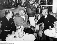 0083670 © Granger - Historical Picture ArchiveAXIS MEETING, 1941.   Meeting between the main Axis powers of World War II at the Hotel Esplanade, Berlin, Germany. From left: Austrian Foreign Minister Dr. Paul Otto Schmidt; German Reichminister Wilhelm Frick; and, the Japanese foreign minister (no name given). Photographed 27 March 1941.