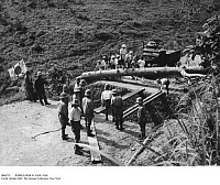 0084753 © Granger - Historical Picture ArchiveWORLD WAR II: AXIS, 1940.   Japan closes the road linking Vietnam and China with French assistance during World War II. At the time, France was under Axis control.