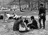 0084759 © Granger - Historical Picture ArchiveGREENWICH VILLAGE, 1969.   Young people meeting in Washington Square Park, New York City, 1969.