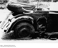0084854 © Granger - Historical Picture ArchiveREINHARD HEYDRICH   (1904-1942). German Nazi official and chief of the Gestapo. The car Heydrich was driving in Prague, Czechoslovakia, when he was mortally wounded by a grenade thrown by Czech partisans, 27 May 1942.