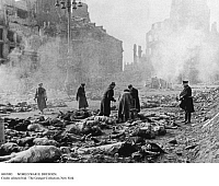 0085093 © Granger - Historical Picture ArchiveWORLD WAR II: DRESDEN.   Identifying bodies in the rubble of Dresden, Germany, following the firebombing by Allied air forces, 14 February 1945.