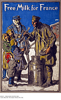 0085674 © Granger - Historical Picture ArchiveWORLD WAR I POSTER: MILK.   'Free Milk for France.' American World War I poster, 1918, showing an American soldier serving milk to French children and an old man.