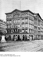 0085723 © Granger - Historical Picture ArchiveNEW YORK TIMES, c1879.   Forty-one Park Row in lower Manhattan, built in 1858 for The New York Times. On the left is a statue of Benjamin Franklin. American photograph, c1879.
