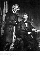 0085753 © Granger - Historical Picture ArchiveGRIMM BROTHERS, 1847.   German philologists and mythologists. Jacob Grimm (1785-1863) standing, and his brother Wilhelm (1786-1859). German daguerreotype, 1847, by Hermann Biow.