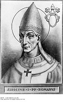 0085792 © Granger - Historical Picture ArchiveSAINT SIRICIUS (c334-399).   Pope, 384-399. Lithograph, 19th century.