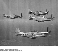 0085851 © Granger - Historical Picture ArchiveWORLD WAR II: MUSTANGS.   American P-51 Mustang fighter planes photographed in flight, 1941-1944.