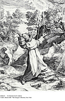 0086013 © Granger - Historical Picture ArchiveST. FRANCIS OF ASSISI.   The stigmatization of St. Francis on La Verna mountain in 1224. Copper engraving by Agostino Caracci, 1586.