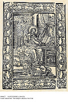 0086027 © Granger - Historical Picture ArchiveSAINT JEROME (c340-420).   Church scholar and translator. Spanish woodcut by Pater Abadal for the Abadal album of the Library of Catalonia, Barcelona, Spain, 1673.