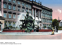 0086081 © Granger - Historical Picture ArchiveBERLIN: CASTLE, c1905.   Reinhold Begas' Neptune Fountain in front of the royal palace (Berliner Stadtschloss) in the Mitte section of Berlin, Germany. Postcard, c1905.