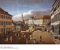 0086155 © Granger - Historical Picture ArchiveBERLIN: MARKET, 1787.   Two market women fight at Hackescher Market in Berlin, Germany. Spandauer Bruecke (bridge) and Sophienkirche, inaugurated 1713, are in the background. Engraving, 1787, by Johann Georg Rosenberg.