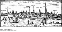 0086202 © Granger - Historical Picture ArchiveGERMANY: BREMEN, 1575.   Bremen, Germany, the Hanseatic city on the Weser River, about 35 miles south of the North Sea. Copper engraving, 1575, by Franz Hogenberg.
