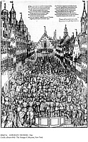 0086216 © Granger - Historical Picture ArchiveGERMANY: FIEFDOM, 1566.   Holy Roman Emperor Maximilian II confirms the fiefdom of August von Sachsen in Augsburg, Germany, 23 April 1566. The act takes place in the Weinmarkt (wine market) between the dance hall and Fugger-Haus. Contemporary German engraving.