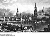 0086308 © Granger - Historical Picture ArchiveGERMANY: DRESDEN, c1830.   View of the city of Dresden and the Elbe River in Saxony, Germany. Behind the Augustus Bridge is the Frauenkirche (Church of Our Lady), to the right the Catholic Court Church and the palace tower. Lithograph, c1830, by Samuel Prout.