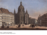 0086311 © Granger - Historical Picture ArchiveDRESDEN: FRAUENKIRCHE.   Frauenkirche (Church of Our Lady) in Dresden, Saxony, Germany. Engraving, c1850, by Ludwig Kergel.