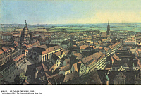 0086315 © Granger - Historical Picture ArchiveGERMANY: DRESDEN, c1850. View of Dresden, the capital of Saxony, Germany, with Frauenkirche (Church of Our Lady) on the left. Engraving, c1850, by Heinrich Beichling.