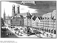 0086336 © Granger - Historical Picture ArchiveMUNICH: MARIENPLATZ, 1644.   Marienplatz, which served as market square, and Frauenkirche (Church of Our Lady) in the center of Munich, Bavaria, Germany. Copper engraving by Caspar Merian for his 'Topographia Germaniae,' volume four, 1644.