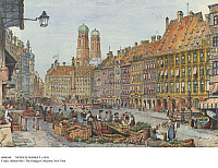 0086348 © Granger - Historical Picture ArchiveMUNICH: MARKET. c1830.   The market on Marienplatz in Munich, Bavaria, Germany. The twin spires of Frauenkirche (Church of Our Lady) rise in the background. Lithograph, c1830, by Samuel Prout.