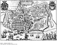 0086421 © Granger - Historical Picture ArchiveGERMANY: EMDEN, 1575.   The city and port of Emden on the Ems River near the North Sea in East Frisia, Germany. Copper engraving, 1575, by Franz Hogenberg.