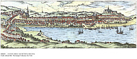 0086465 © Granger - Historical Picture ArchiveGERMANY: FLENSBURG, 1588.   The town of Flensburg on a Baltic Sea fjord in Schleswig-Holstein, Germany. Copper engraving, 1588, by Franz Hogenberg.