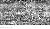 0086469 © Granger - Historical Picture ArchiveGERMANY: FREIBURG, 1588. Freiburg on the Dreisam River in Baden-Wuerttemberg, Germany. The panoramic view shows the walls and towers at each gate to the city, which is surrounded by Black Forest mountains. Copper engraving, 1588, by Gregor Sickinger.