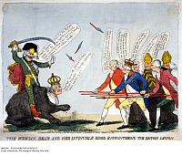 0086509 © Granger - Historical Picture ArchiveRUSSO-BRITISH CONFLICT.   English cartoon, published April 19, 1791, showing Prince Potemkin and Catherine the Great of Russia, as the Russian bear, being threatened by Prime Minister William Pitt and King George of England.