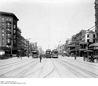 0086561 © Granger - Historical Picture ArchiveNEW ORLEANS, 1907.   Electric streetcars on Canal Street in the French Quarter, New Orleans, Louisiana, 1907.