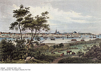 0086604 © Granger - Historical Picture ArchiveGERMANY: KIEL, c1855.   The city of Kiel on Kiel Fjord near the Baltic Sea, in Schleswig-Holstein, Germany. Engraving, c1855.