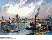 0086658 © Granger - Historical Picture ArchiveMAINZ: RHINE RIVER, 1855.   Life on the Rhine River at Mainz in Rhineland-Palatinate, Germany. Engraving, c1855, by John Robert after a drawing by Birket Foster.