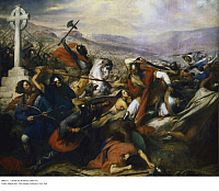 0086731 © Granger - Historical Picture ArchiveCHARLES MARTEL (c688-741).   Frankish ruler, Duke of Austrasia, 715-741. Charles Martel defeating the Caliph's army under Abd-er-Rahman at Tours, France, 732. Oil on canvas, 1837, by Charles Steuben.