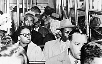 0086995 © Granger - Historical Picture ArchiveDESEGREGATION: ALABAMA.   Black Americans sitting in seats originally reserved for whites only, 29 December 1956, during a campaign against a segregation ordinance issued by the city of Birmingham, Alabama, after the arrest of Rosa Parks.
