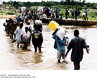 0087102 © Granger - Historical Picture ArchiveMOZAMBIQUE: MAPUTO, 2000.   Natives from Maputo, Mozambique, wading through flood waters. Photograph, 11 March 2000. Full credit: Fotoagentur imo - ullstein bild / Granger, NYC -- All Rights Reserved.