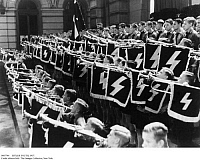 0087744 © Granger - Historical Picture ArchiveHITLER YOUTH, 1937.   Hitler Youth fanfare players welcoming Spanish Falangists to Berlin, Germany, September 1937.