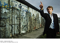0088092 © Granger - Historical Picture ArchiveFLORIAN HUBER (1982- ).   German film director. Huber at the remains of original sections of the Berlin wall at Bernauer Strasse, 2007. Full credit: Heerde - ullstein bild / Granger, NYC -- All Rights Reserved.