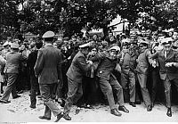 0088326 © Granger - Historical Picture ArchiveBEATLES FANS, 1966.   Police form a chain to restrain Beatles fans in Essen, Germany, during the band's final concert tour. Photographed 25 June 1966. Full credit: Alert - ullstein bild / Granger, NYC -- All rights reserved.