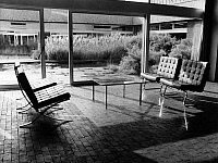 0088869 © Granger - Historical Picture ArchiveBARCELONA CHAIR.   Barcelona chair after the design of American (German-born) architect Ludwig Mies van der Rohe. Originally designed for the Barcelona World Fair of 1929 as part of the German Pavilion. Photograph, c1970. Full caption: Conor, Harry - ullstein bild / Granger, NYC -- All rights reserv