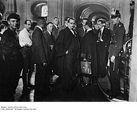 0088984 © Granger - Historical Picture ArchiveHANS LITTEN (1903-1938).   German attorney. Litten representing anti-Nazi Communists during the Felsenecke Trial at the Criminal Court in Moabit, Berlin, Germany. Photographed 25 August 1932.