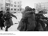 0089024 © Granger - Historical Picture ArchiveBATTLE OF STALINGRAD, 1943.   Soviet soldiers embracing after the surrender of German troops to Soviet forces at Stalingrad during World War II, 31 Januuary 1943.