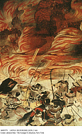 0089379 © Granger - Historical Picture ArchiveJAPAN: HEIJI REBELLION, 1160.   Supporters of Fujiwara no Nobuyori and Minamoto no Yoshitomo set fire to Sanjo Palace while abducting former emperor Go-Shirakawa (Shirakawa II), an incident in the Heiji Rebellion, 1160. Detail from a Japanese scroll painting, 13th century.
