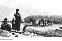 0091034 © Granger - Historical Picture ArchiveH.M.S. BEAGLE: PATAGONIA.   Patagonians at Gregory Bay. Etching, 1839, from Captain Robert Fitzroy's 'Narrative of the Surveying Voyages of H.M.S.