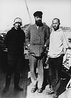 0091363 © Granger - Historical Picture ArchiveGREENLAND EXPEDITION, c1930.   Colleagues of Alfred Wegener. Johannes Georgi, Peter Freuchen and Ernst Sorge. Photographed before Wegener's final Greenland expedition, c1930.