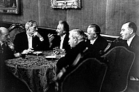 0095993 © Granger - Historical Picture ArchiveMACDONALD IN BERLIN.   Reich Chancellery reception for visiting British politicians, 27 July 1931. Left to right: Max Planck, James Ramsay MacDonald, Albert Einstein, Industrial Trade Union board member Hermann Schmitz, Foreign Minister Julius Curtius and Finance Minister Hermann Dietrich. Full credit: bpk/Salomon - ullstein bild / Granger, NYC -- All rights