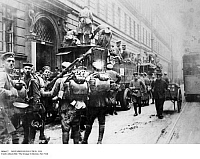 0096622 © Granger - Historical Picture ArchiveNOVEMBER REVOLUTION, 1918.   Hunters from Naumburg hired to protect the Ministry of War, in Berlin against counter-revolutionary actions during the November Revolution of 1918.